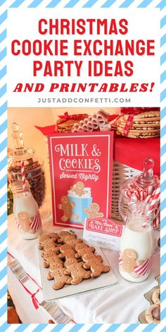 "Create a fun and memorable Christmas Cookie Exchange party with these Mrs. Claus' Bake Shop Cookie Exchange Party ideas and printables. This theme is so fun for the holidays! The Just Add Confetti printables for this Christmas cookie party are so easy to add to the theme. Don't forget the ""baked with love"" gift tag printables too for a sweet way to package your holiday baked good gifts. Head to justaddconfett.com for more Christmas party ideas, DIY decorations, printables, gift ideas & recip"