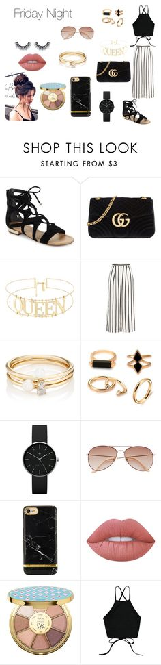 """""""Friday Night"""" by itsmylife-sandra ❤ liked on Polyvore featuring Saks Fifth Avenue, Gucci, Finders Keepers, Loren Stewart, Newgate, H&M, Lime Crime and tarte"""