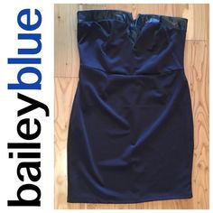 NWOT Black Strapless Dress Brand new, never worn, without tags! STUNNING black, midi dress! Strapless with faux leather detail around the top. V-neck sweetheart neckline. Seam at the natural waist for a slimming look. Very stretchy and comfortable!!! Zipper up the back with slit at the bottom of the back! BaileyBlue Dresses Midi