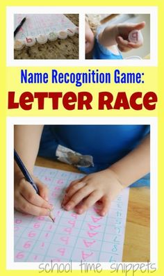 School Time Snippets: The Letter Race-Name Recognition and Writing Game for Preschoolers. Pinned by SOS Inc. Resources. Follow all our boards at pinterest.com/sostherapy/ for therapy resources.