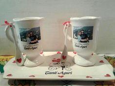 Calco vitrificable full color fotográfico, personalizado para souvenir de aniversario (foto de Caricias del Alma).