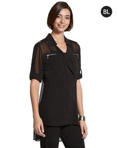 Chico's Sheer Zip-Pocket Blouse #chicos