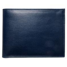 Buffed Calf Leather Billfold Wallet Blue