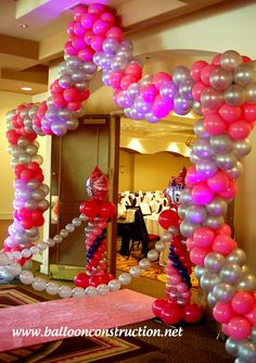 Walk through entrance mask balloon arch created by www for Balloon decoration ideas for sweet 16