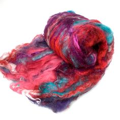 "Fiber Batt, Art Batt, Fiber Art Batt for Spinning or Felting- ""Muse"" 4.375 ounces. $33.00, via Etsy."