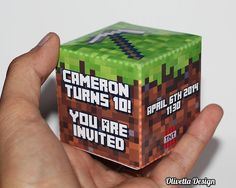 this is seriously fantastic!! Minecraft Birthday Party Invitation 3D Cube  by OlivettaDesign, $8.00