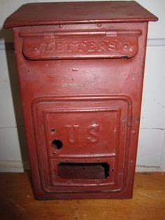 Vintage Red Mailbox - Metal Mailbox - Antique Mailbox - Rustic Decor - Vintage…