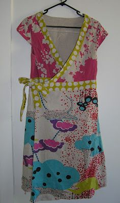 "Annie At Home - Echino linen/cotton on skirt and spot trim, Cloth Australia linen screen print ""Wattle"" on bodice. Revamp Clothes, Sewing Clothes, Diy Clothes, Clothing Patterns, Dress Patterns, Sewing Patterns, Apron Patterns, Breastfeeding Dress, White Wrap Dress"