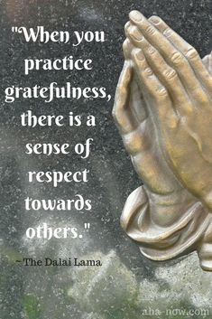 """When you practice gratefulness, there is a sense of respect towards others."" ~ The Dalai Lama #AhaNOW #quotes #quoteoftheday #quotestoliveby #wisewords #wordsofwisdom #Dalailama #inspiringquotes #motivationalquotes"