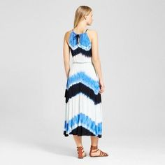 Women's Halter Neck Tie Dye Maxi Tank Dress - Wd•ny Black - Blue Combo XL, Multicolored