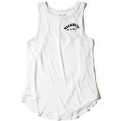 Hollister Open Back Graphic Tank (420 PHP) ❤ liked on Polyvore featuring tops, white, open back tops, white tank, white high neck tank top, high neck tank top and white singlet