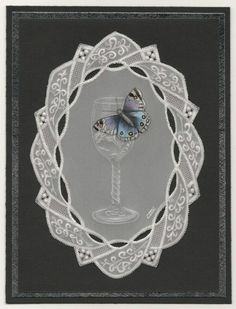 By Carolyn C. Parchment card coloured with polychromo pencils. Wine glass with butterfly. Parchment Design, Parchment Cards, Polychromos, Card Maker, Craft Patterns, Angles, Wine Glass, Decoupage, Paper Crafts