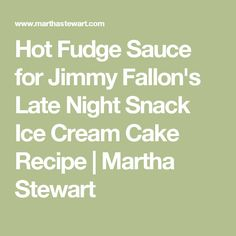 Hot Fudge Sauce for Jimmy Fallon's Late Night Snack Ice Cream Cake ...
