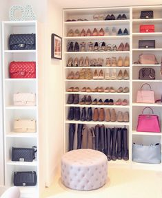 boots at bottom, most commonly used shoes at eye level, dressy shoes at top