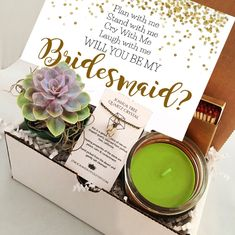 Live Succulent Gift Box - Will you be my bridesmaid care package with raw quartz necklace - Send a Gift - Bridesmaid proposal wedding - Bridesmaid proposal - Will You Be My Bridesmaid Gifts, Asking Bridesmaids, Bridesmaid Gift Boxes, Wedding Bridesmaids, Brides Maid Proposal, Bridesmaid Proposal Cards, Succulent Gifts, Before Wedding, Wedding Favors