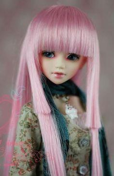 "08# Pink Straight Wig 1/6 BJD SD AOD DOD DZ Dollfie 6-7"""