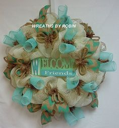 Welcome Friends Wreath, Spring to Summer Wreaths (2050). BOXED AND READY FOR SHIPPING! Welcome Friends is the perfect wreath to greet your guests. This wreath was made on a deco mesh work form with vertical line mesh, chevron burlap ribbon, deco mesh tubes, jute flex tubing and a cute welcome sign in the center. This wreath is approximately 24 x 24 x 8. Thank you for shopping with Wreaths by Robin!.