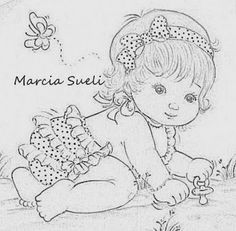 riscos de bebe menino para pintura em fralda - Pesquisa Google Vintage Embroidery, Embroidery Patterns, Hand Embroidery, Baby Coloring Pages, Coloring Books, Baby Drawing, Baby Cartoon, Baby Art, Digi Stamps