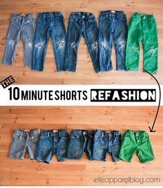 Super easy tutorial on refashioning kids worn-out jeans into shorts.