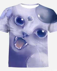 e9e0a5d6992a4 cat animal face t shirts for teenage summer travel or sports best  choose