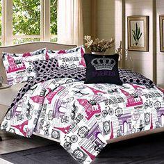 pink purple paris eiffel tower london themed twin comforter set - Paris Bedding