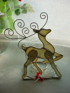 Stained Glass Reindeer Suncatcher Candle Shade Freestanding by Enchanted Forest