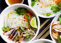 EASY Vietnamese-Style Noodle Bowls with Chicken are the perfect meal in a bowl. Made with vermicelli rice noodles, chicken, fresh herbs and vegetables, and a tangy rice vinegar dressing.