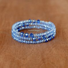 Blue crystal memory wire bracelet Free shipping by AnukritiDesigns