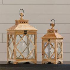 Loon Peak Evansville 2 Piece Wood / Glass Lantern Set