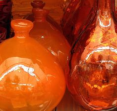 when in doubt about which feng shui element is represented by your objects...these are glass/Water + orange/Fire & Earth + round & reflective/Metal...notice what stands out more: color, shape or material...that's right...these are all Fire/Earth orange!