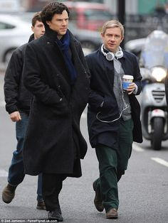 Back on set: Benedict Cumberbatch and Martin Freeman got to work shooting the third series of Sherlock on Londons Baker Street on Tuesday