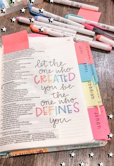 Let the One who created you be the one who defines you. Bible Drawing, Bible Doodling, Bible Verses Quotes, Bible Scriptures, Tittle Ideas, Cute Bibles, Who Created You, Bibel Journal, Bible Study Journal