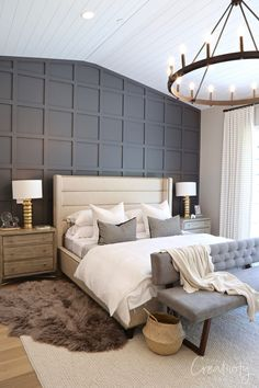 Master bedroom with dark rich grid accent wall bedroom accent wall Utah Valley Parade of Homes 2019 Master Suite, Master Bedroom Layout, Accent Wall Bedroom, Bedroom Layouts, Dark Master Bedroom, Large Bedroom Layout, Master Master, Master Bathroom, Contemporary Bedroom