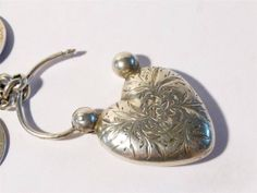 Victorian 23 Engraved COINS Silver Lucky Charm Love Token Bracelet Heart Clasp