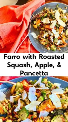 This Farro with Roasted Squash, Apple, & Pancetta is one of my favorite farro recipes! It is a perfect Fall recipe and a super healthy dinner recipe! Roasted sweet potato works beautifully here as well. This is sure to be a favorite seasonal recipe - perfect as a side dish or all on its own. Try it tonight! #roastedsquash #roastedsweetpotatoes #roastedsweetpotatorecipes #farrorecipes #healthydinnerrecipes #sidedishes #sidedishrecipes #healthysides