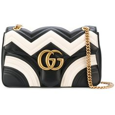 Gucci GG Marmont Matelasse Bag (€1.960) ❤ liked on Polyvore featuring bags, handbags, 100 leather handbags, logo bags, chain handle handbags, gucci purse and chain shoulder bag