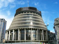 """This is the parliment building in New Zealand, called """"The Beehive"""". *Bees were worshipped by the Merovingian Architecture Details, Modern Architecture, Wellington New Zealand, Kiwiana, Princess Cruises, Capitol Building, Places Ive Been, Beehive, Merovingian"""