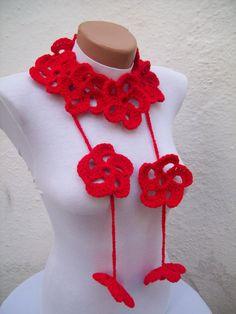 Hand crochet Lariat Scarf Red Flower Lariat Scarf Long by nurlu, $20.00
