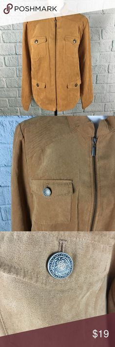 """Studio Works Tan Faux Suede Lightweight Jacket Tan """"faux suede"""" ultra lightweight zip up jacket from Studio Works.  Features 4 front pockets with fun button accents. Good used condition - gently worn Polyester with silky polyester lining Size 16 --- Pit to Pit: 22"""" --- Length: 24"""" --- Sleeve: 25"""" --- Shoulder to shoulder: 17"""" Studio Works Jackets & Coats"""