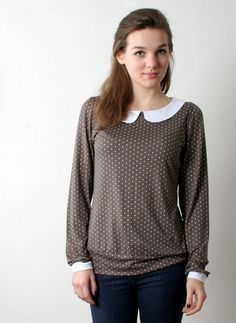 Ann_ Longsleeve Pünktchen-Shirt mit Bubikragen