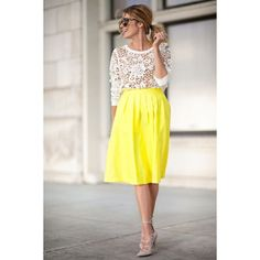 Getting Bold in a Yellow Midi SIx Other Fun Midis to Shop ❤ liked on Polyvore featuring cure, modeli, pics, pictures and backgrounds