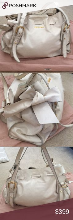 454e7b94c8f2 Limited edition Miu Miu white leather bow bag One of a kind white leather bow  bag