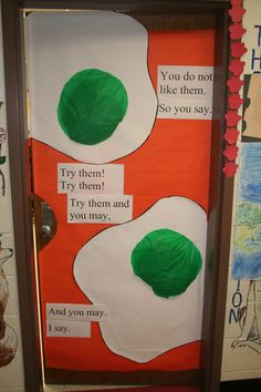 Seuss Teacher Door Green Eggs and Ham Dr. Seuss Teacher Door Green Eggs and . Dr. Seuss, Dr Seuss Week, Dr Seuss Activities, Kindergarten Activities, Preschool, Toddler Activities, Classroom Door, Classroom Themes, Leiden
