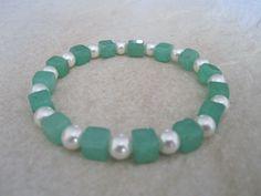Emerald Green Aventurine Square Cube Beads & White Swarovski Pearls Bracelet - £8.30 #craftfest