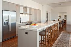 Grey cupboards with white benchtop