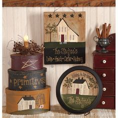 primitive decor display - my house will be full of this! Primitive Country Crafts, Primitive Santa, Primitive Homes, Americana Crafts, Primitive Antiques, Primitive Kunst, Primitive Painting, Prim Decor, Country Decor