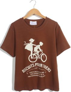 Chocolate Short Sleeve Bicycle Letters Print T-Shirt US$17.71