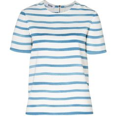 MOSCHINO C Pearl/China Blue Breton Striped Top (950 CNY) found on breton shirts布雷顿水手衫tee20130715