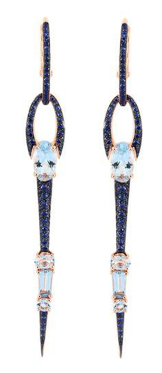 Etho Maria Stiletto Blue Sapphire and Aqua Earrings | Sapphire Bridal Earrings | Designer Jewelry NYC