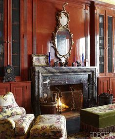 Ann Pyne head of the renowned New York firm McMillen, Inc. library of New York Upper East Side Townhouse.Biedermeier needlepoint rug